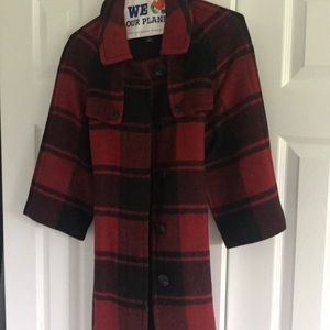Black and Red Plaid Cape Coat